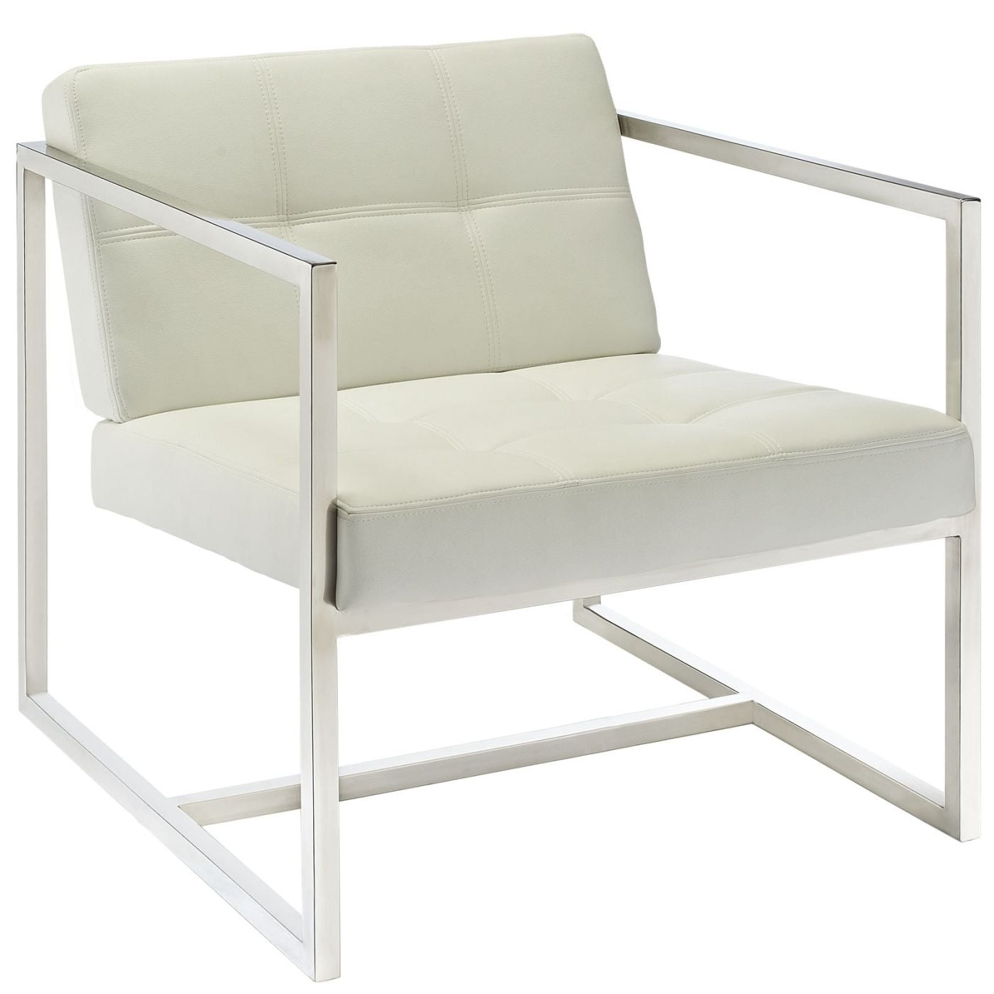 Hover Upholstered Faux Leather Lounge Chair White Armchair ...
