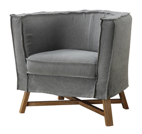 Grand Club Chair Light Grey Fabric Armchair