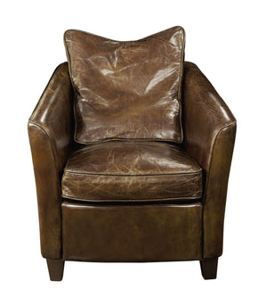 Charlston Club Chair Brown Top Grain Leather Birch Wood Frame & Legs Armchair