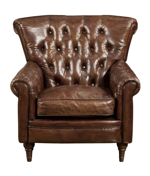 New Castle Club Chair Brown Top Grain Leather Rubber Wood Leg Armchair