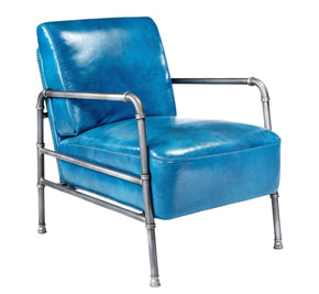 Royce Retro Industrial Club Chair Blue Top Grain Leather Armchair