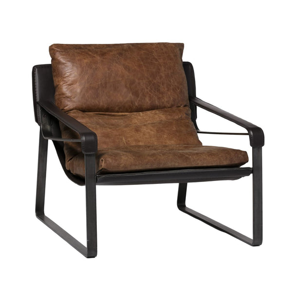 Connor Club Chair - Distressed Brown Top Grain Leather Armchair