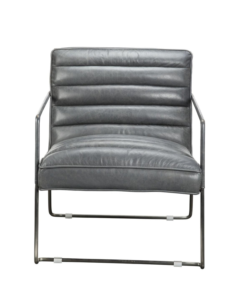 Desmond Club Chair Grey Top Grain Leather Stainless Steel Frame Armchair