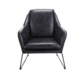 Greer Club Chair Black Full Leather Armchair