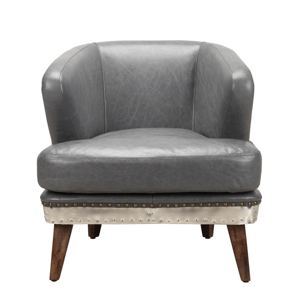 Cambridge Club Chair Antique Grey Top Grain Leather Aluminum Armchair