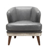Cambridge Club Chair Antique Grey Top Grain Leather Aluminum