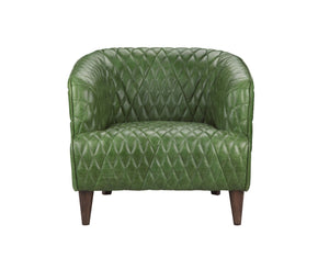 Magdelan Tufted Leather Arm Chair Emerald Armchair