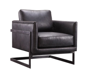 Luxe Club Chair Black Top-Grain Leather Armchair