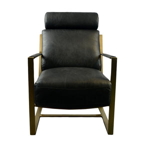 Paradiso Chair Black Top-Grain Leather Gold Finish Frame Armchair