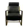 Paradiso Chair Black Top-grain Leather Gold Finish Frame