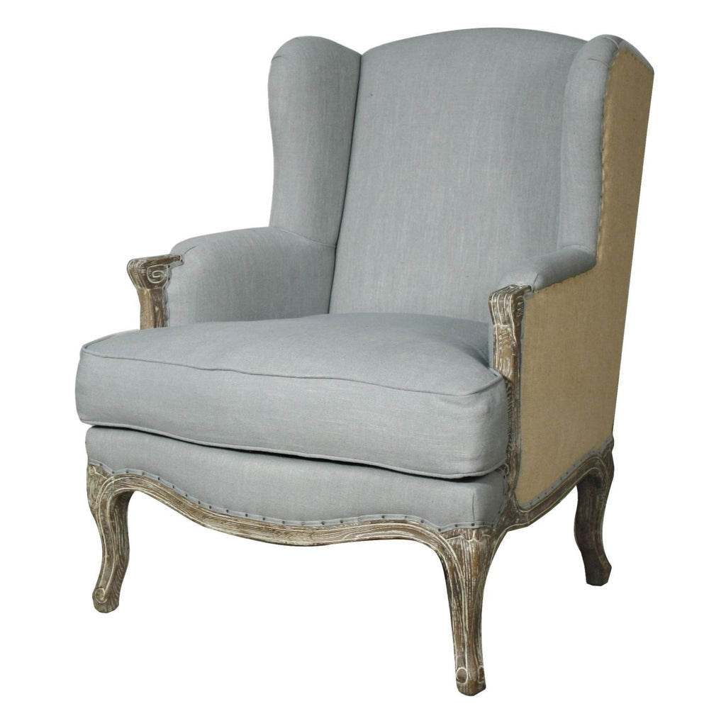 Marie Wing Arm Chair Soft Blue/burlap Armchair