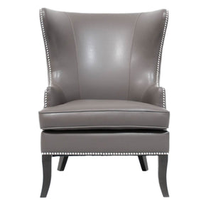 Grant Wing Chair Pebble Bonded Leather Armchair
