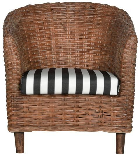 Omni Barrel Chair Brown / Black & White Stripe Armchair