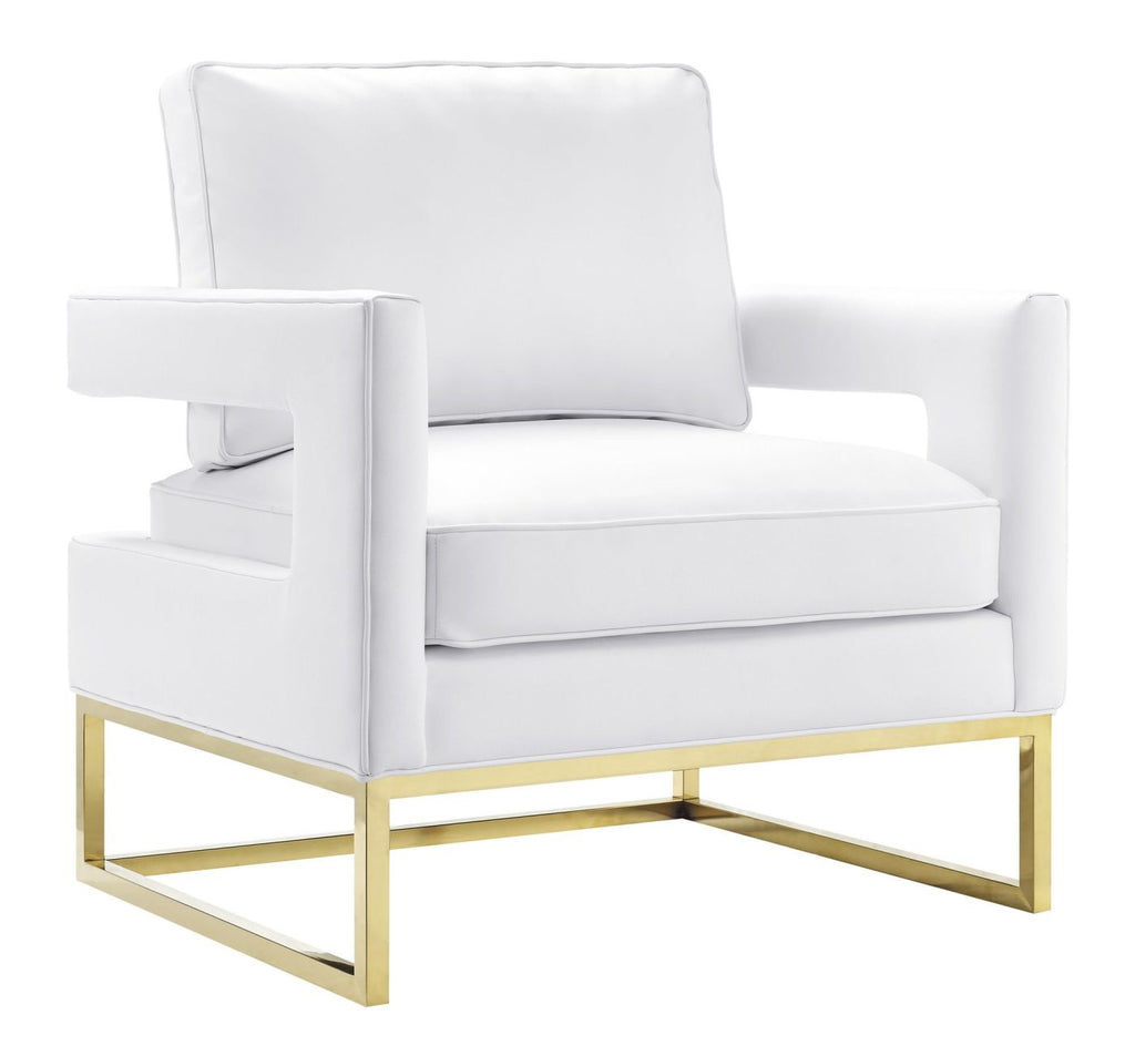 Avery white gold leather arm chair armchair