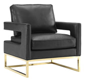 Avery Black / Gold Leather Arm Chair Armchair