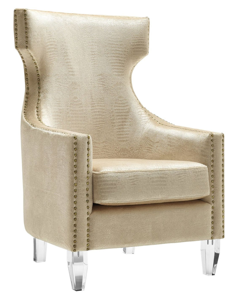 Buy Tov Furniture Tov A76 Gramercy Gold Croc Velvet Wing Chair At