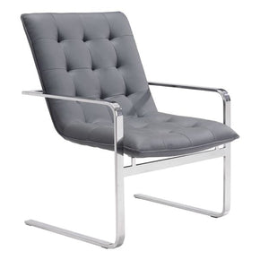 Solo Occasional Chair Gray Polished Stainless Steel (Set Of 2) Armchair