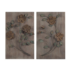 Set Of 2 Wooden Wall Panel With Handpainted Metal Flowers Art