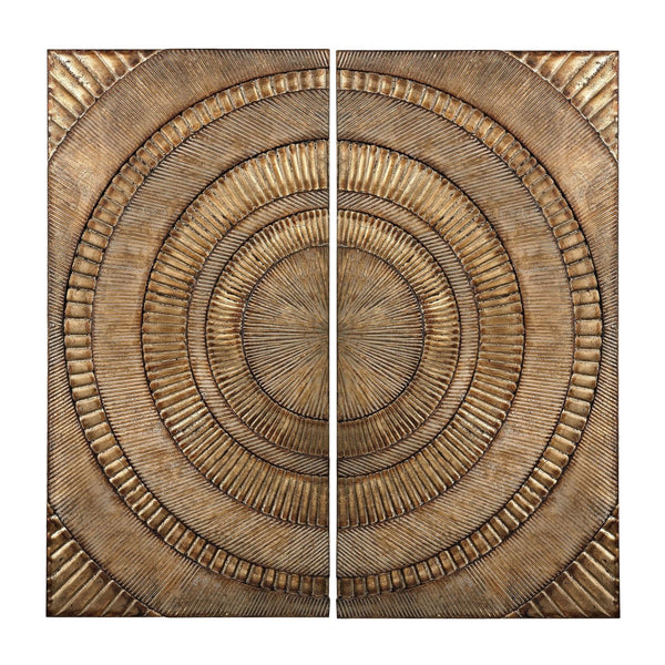 Art - Elk Group ELK-138-133/S2 Set Of 2 Abstract Metal Wall Panels Glenharrow Gold | 843558126729 | Only $270.00. Buy today at http://www.contemporaryfurniturewarehouse.com