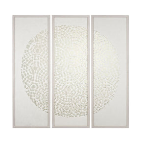 Natural Fiber Triptych Washed Wood Tone,silver Art