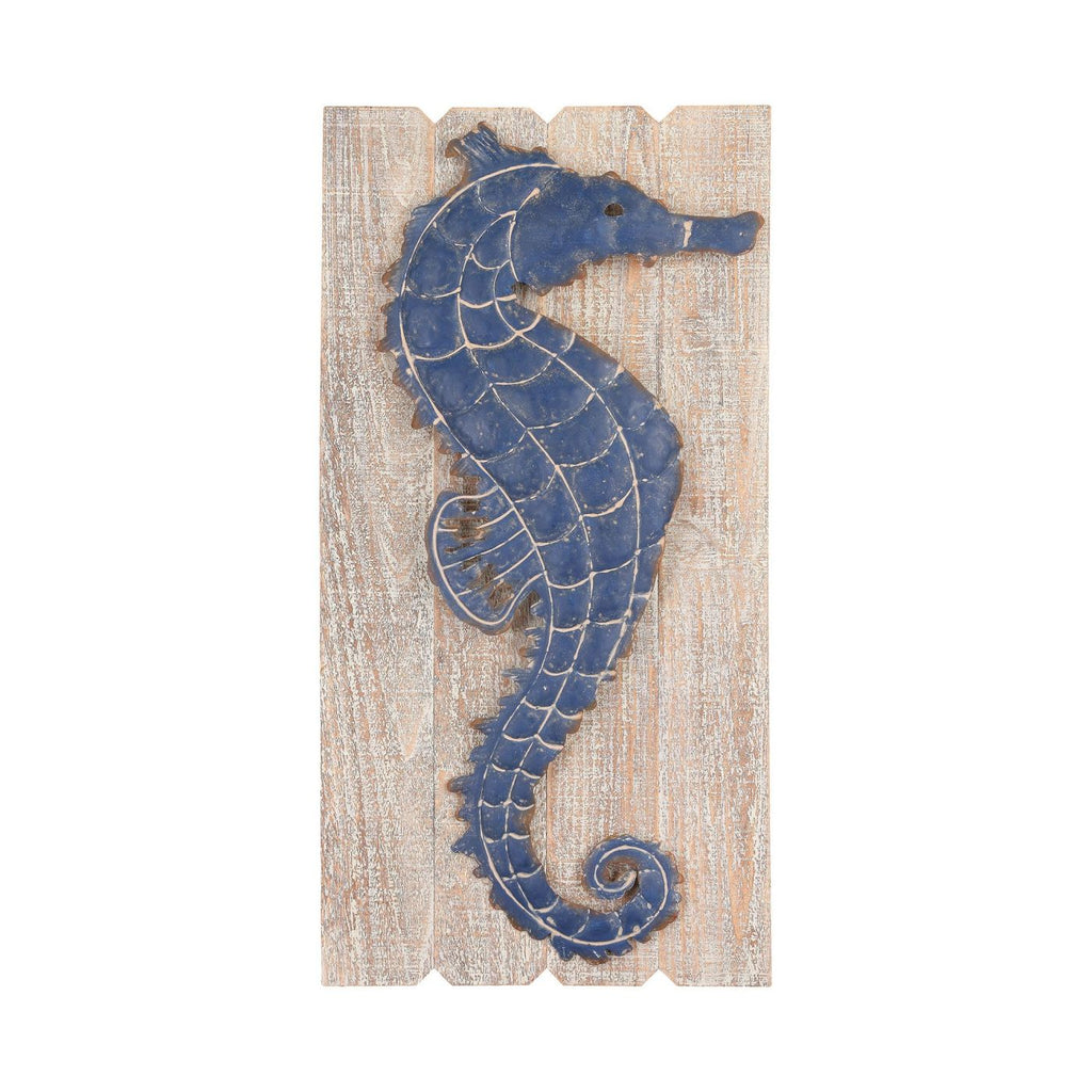 Jolly Harbour Wall Decor Washed Woodtone,navy Blue Art