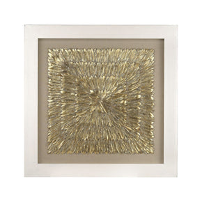 Gold Feather Spaturral Gold,natural Linen Art