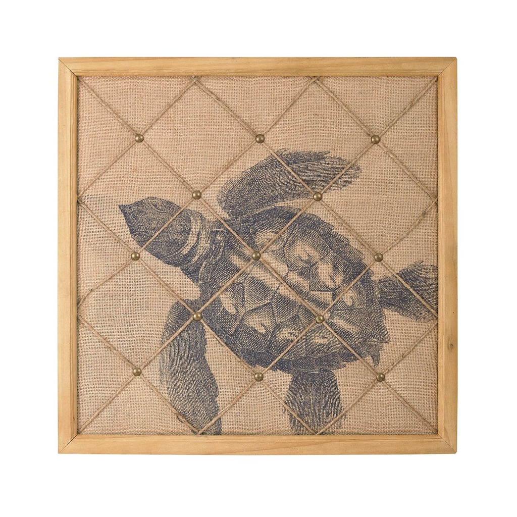 Turtle On Linen Note Board Natural Linen,wood Art