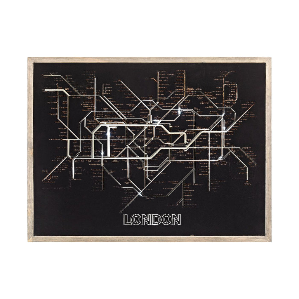 Tubetime Grey With Black 24-Inch Wood And Glass London Tubemap Wall Decor Woodtone,black Art