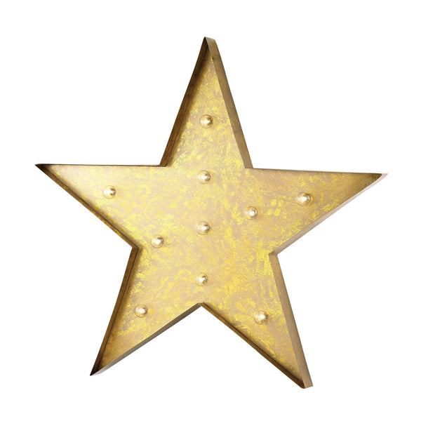 Star Marquee Sign Antique Yellow Art
