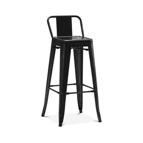 DesignLab MN LS-9100-MTBLKLB Dreux Matte Black Steel Low Back Barstool 30 Inch (Set of 4) 646263991756