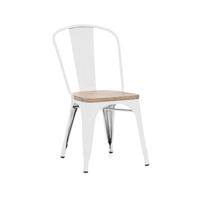 DesignLab MN LS-9000-WHTLW Dreux Glossy White Light Elm Wood Stackable Side Chair (Set of 4) 640746589379