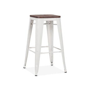 DesignLab MN LS-9102-WHTW Dreux Glossy White Elm Wood Steel Stackable Counter Stool 26 Inch (Set of 4) 655222620118