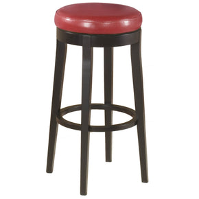 Backless Swivel Barstool In Red Bonded Leather 26 Bar Chair
