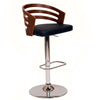 Adele Swivel Barstool In Black PU/ Walnut and Chrome Base