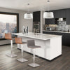 Cafe Adjustable Brushed Stainless Steel Barstool In Gray Pu With Walnut Back Bar Chair