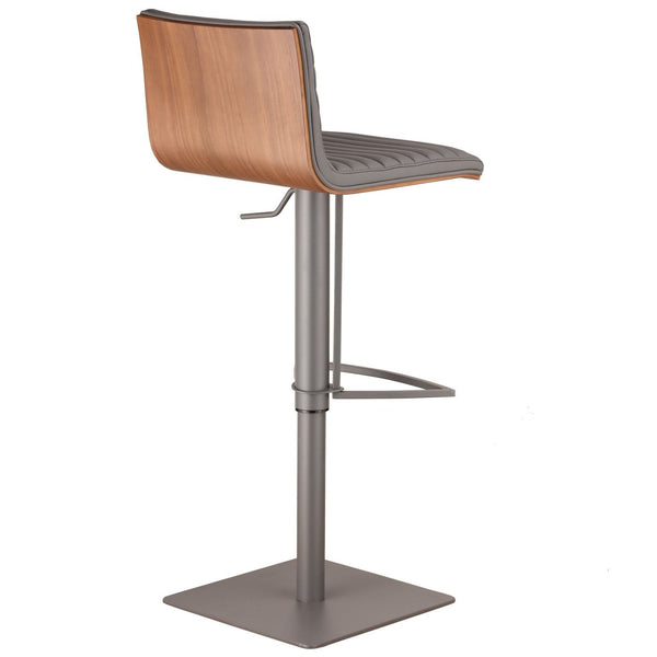 Cafe Adjustable Gray Metal Barstool In Pu With Walnut Back Bar Chair