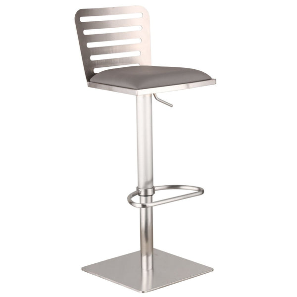 Delmar Adjustable Brushed Stainless Steel Barstool In Gray Pu Bar Chair