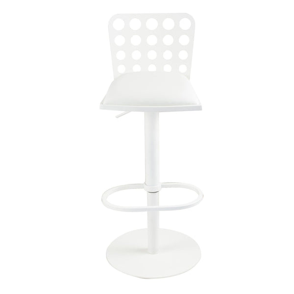 Dune Contemporary Barstool In White And Metal Bar Chair
