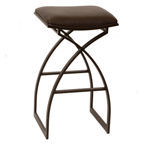 "Armen Living Harper 26"" Modern Barstool In Coffee and Auburn Bay Metal LCHA26BABR 