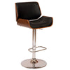 London Swivel Barstool In Black Pu/ Walnut And Chrome Base Bar Chair