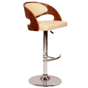 Malibu Swivel Barstool In Cream Pu/ Walnut And Chrome Base Bar Chair