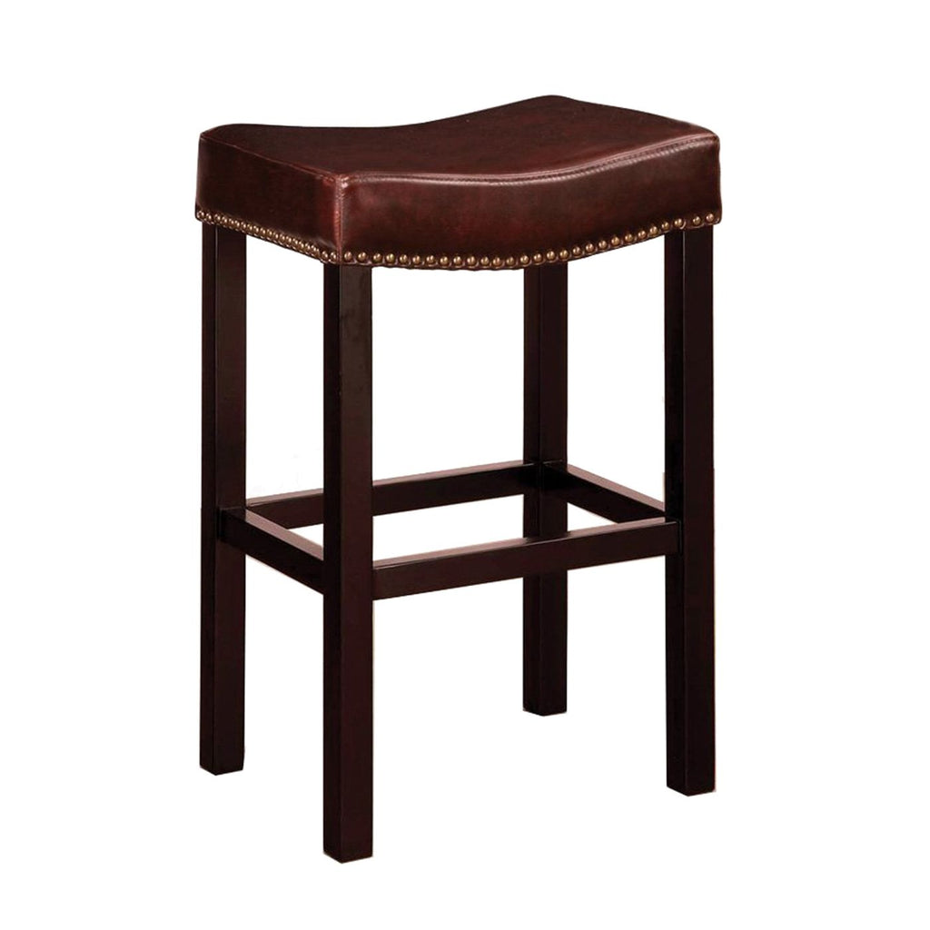 Tudor Backless 26 Stationary Barstool In Brown Bonded Leather With Nailhead Accents Mbs-013 Bar Chair