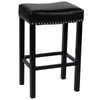 Tudor 26 Stool Black Bonded Leather With Chrome Nails Bar Chair