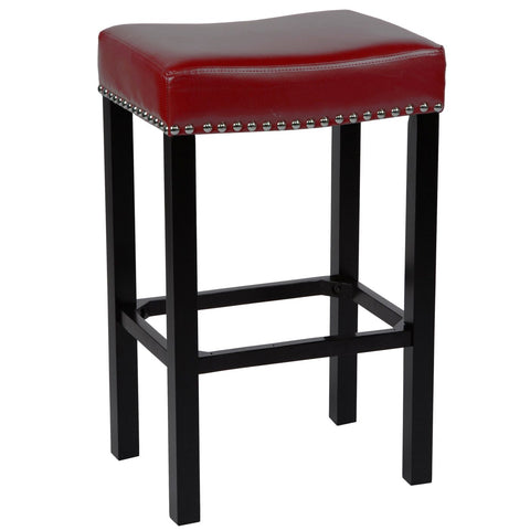 Tudor 26 Stool Red Bonded Leather With Chrome Nails Bar Chair