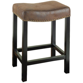 Tudor Backless 26 Stationary Barstool Covered In A Wrangler Brown Fabric With Nailhead Accents Mbs-013 Bar Chair