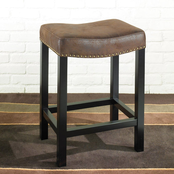 Tudor Backless 30 Stationary Barstool Covered In A Wrangler Brown Fabric With Nailhead Accents. Mbs-013 Bar Chair