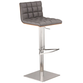 Oslo Adjustable Brushed Stainless Steel Barstool In Gray Pu With Walnut Back Bar Chair