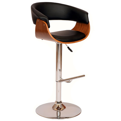 Paris Swivel Barstool In Black Pu/ Walnut And Chrome Base Bar Chair