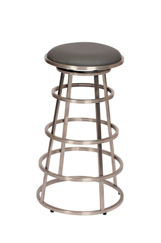 Ringo 26 Backless Brushed Stainless Steel Barstool In Gray Pu Bar Chair