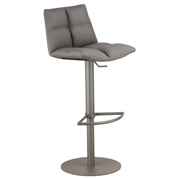 Roma Adjustable Gray Metal Barstool In Pu Bar Chair
